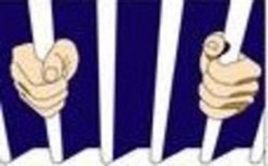 Prisoner hands on bars