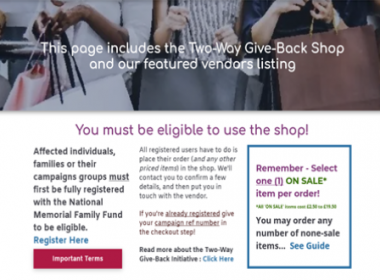 Give-Back Shop - National Memorial Family Fund